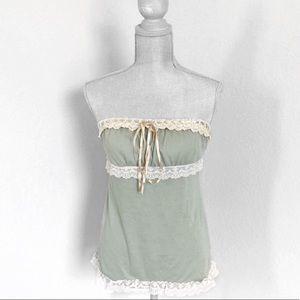 HeartSoul Green Lace Trim Strapless Top